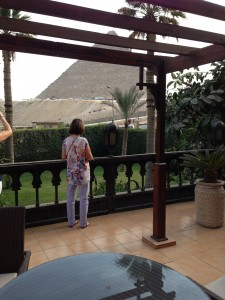 Oberoi Mena House Cairo. Barbara enjoys the view from the Presidential suite.