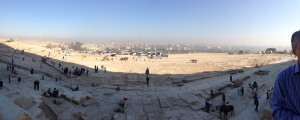 Looking from the Great Pyramid towards Giza and Cairo. Nov 2012.
