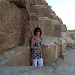 The Great Pyramid. Barbara at the entrance to the Great Pyramid, November 2012.