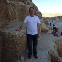 The Great Pyramid. Colin at the entrance to the Great Pyramid. November 2012.
