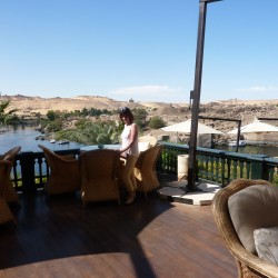 Barbara on one of the terraces at the Old Cataract Hotel Aswan November 2012