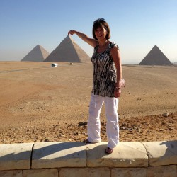 The Pyramids. Barbara tries to touch the top! Nov 2012.